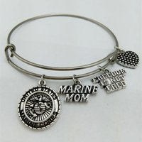 Wholesale Marines Charms - My Shape United States Marine Mom Charm Bangle Stainless Steel Metal Expandable Wire Military Bangle Freedom Is Not Free