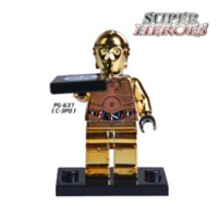 Wholesale 1PC Star Wars C3PO Iron Man Mr Gold Limited Edition Chrom Golden Diy figures Superheroes Building Blocks Bricks Kids DIY Toys