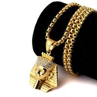 Wholesale egypt charms - New Arrivals Hip Hop 18K Gold Plated Egypt Pharaoh Pattern Pendant Chain Necklace Fashion Jewelry for Women Men