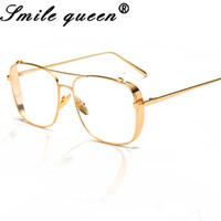 4697fd810882 Wholesale- New Fashion Square Glasses Frame Women Brand Designer Metal  Frame Gold Ladies Eye Frames Women Mirror Eyewear Shield Male Female