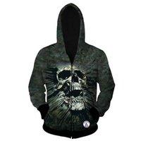 ingrosso cranio con cappuccio con cerniera-Felpa con cappuccio da uomo 3D Skull Print Hoodie Zipper manica lunga da uomo maglione taglia da S ~ 3XL spedizione gratuita