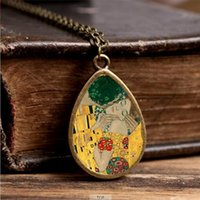 Wholesale Gustav Paintings - 2017 New The Kiss Gustav Klimt Necklace Mother and Child Tear Drop Pendant Painting Jewelry Vintage Glass Necklaces
