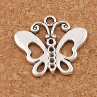 Flower Open Butterfly Charm Beads Pendants 100pcs / lot 24x22.2mm Antique Silver Fashion Jewelry Bricolage Fit Bracelets Collier Boucles D'oreilles L1129