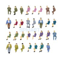 Wholesale Plastic Painted Scale Models - Wholesale- 50pcs Painted Model Train HO Seated People Passengers Figures 1:50 O Scale