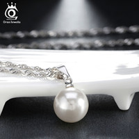 Wholesale Wholesale Beads Crystals Pearls - Pearescent Beads Necklace,10mm Pearl with 925 Sterling Silver Chian,18K Platinum Plating,Silver Pearl Necklace ON20