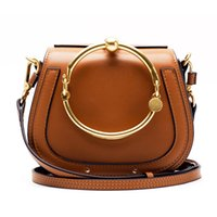 Wholesale Clutch Bag Ring Handle - 2017 New fashion metal gilding circle ring handle nile bag women handbag genuine leather clutch bag saddle bag