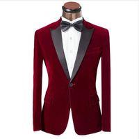 Wholesale Red Plaid Tuxedo Jacket - One Button Dark Red Velvet Groom Tuxedos Groomsmen Men's Wedding Prom Suits Custom Made (Jacket+Pants+Girdle+Tie) K:231 AOP--014