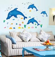 ingrosso decalcomanie del delfino-Giardino domestico Bambini Adesivi murali Decalcomanie 3D Bambini Dolphin Rooms Adesivo alla decorazione della parete Casa grande rimovibile