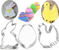 Wholesale Egg Biscuit - 3pcs Easter egg Metal Cookie Cutter chick Fondant Cake Decor rabbit Biscuit Pastry patisserie tools