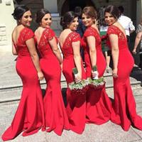vestidos de noche de satén rojo cuello v al por mayor-2017 Moda Vestidos de dama de honor rojos Manga larga con cuello en V Encaje Satén Longitud del piso Vestidos de noche Sin respaldo Vestido de honor por encargo