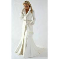 Wholesale Navy Blue Fur Coat - Custom made 2017 winter warm wedding coat Faux Fur Trim Long for Bride Winter Wedding wrap Cape coat wedding accessories
