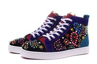 Wholesale Massaging Beads - Cheap Red Bottom Sneakers for Men Women with flower beads spikes,Designer Luxury leisure trainer footwear party shoes Casual Shoes