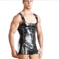 Wholesale clubwear teddy lingerie online - Excellent New Fashion Men Sexy Black PU Leather Bondage Bodysuit Fetish Gay Male Clubwear Catsuit Front Zipper Jockstrap Lingerie M XXL