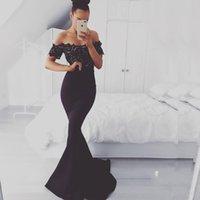 erstaunliche schwarze spitze abendkleider großhandel-Erstaunliche schwarze Meerjungfrau Abendkleider Spitze Satin Flügelärmeln Sweep Zug Formale Promi Abendkleider Kleider für besondere Anlässe Abendkleider