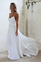 Wholesale New Arrival Top Wedding Gowns - White Chiffon Beach Wedding Dresses Sexy Backless Spaghetti Sweep Train Lace Top 2017 New Arrival Beach Bridal Gowns Cheap