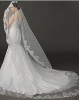 véus de noiva china venda por atacado-Barato Em Estoque 3 M Nupcial Do Casamento Veils 2017 Applique Borda Do Laço de Tule Elegante Acessórios Do Casamento A Partir De China