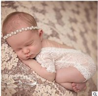 Wholesale Baby Photography Clothing - Wholesale-100 days baby lace bowknot suit pearl headbands newborn photography props Hooded lace baby clothing pictures 3 months