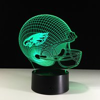 Novedad Philadelphia Eagles casco de fútbol Illusion LED Night Light Color cambiando las lámparas 3D para la decoración del regalo de los cabritos