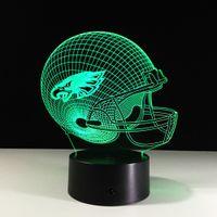 Wholesale Helmet Ce - Novelty Philadelphia Eagles Football Helmet Illusion LED Night Light Color Changing 3D Lamps for Kids Gift Decor