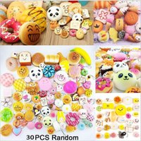 Wholesale cars cute - 30Pcs Lot Cute Mini Soft Random Squishy Phone Strap Keychain Simulation Medium Panda Cake Macaron Dessert Buns Phone Straps YYA415