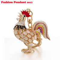 Wholesale Opal Pendant Men - Opals Cock Rooster Chicken Lovely Crystal Keyrings Keychains Rhinestone Bag Pendant Key chains Christmas Gift Jewelry Llaveros