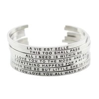 Wholesale Quotes Hot - 2017 Hot 316L Stainless Steel Engraved Positive Inspirational Quote Cuff bracelet Mantra Bracelet Bangle for women