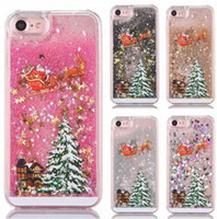 Wholesale Case Iphone Santa Claus - Santa Claus Christmas Tree Liquid Flow Sand Sequins Hard Plastic Phone Cases Quick sand Cover For iPhone 5 5S SE 5C 6 6S 7 6 6S 7Plus