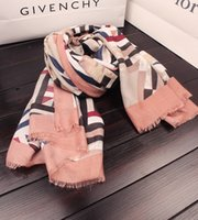 Wholesale Wholesale Cape Scarfs - Wholesale- Summer slanting stripe cotton beautiful tassel scarf all-match female silk scarf geometry stripe print cape