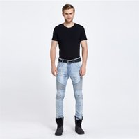 Wholesale Slim Stripe Tights - Wholesale-brand men stretch tight ripped biker stretch jeans blue male jeans black cozy men elastic jeans Slim Pants