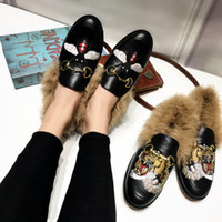 Wholesale Winter Closed Heels - faux fur Genuine leather Women Lazy Shoes Slip on Embroidery Animal Brand Ladies Casual Shoes Flat heel Horsebit Loafers