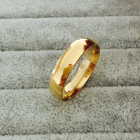Wholesale Real Engagement Ring Men - Classic popular 18k Real Gold Plated 6mm Titanium Steel Women Men Wedding Ring Top Quality Do not fade Lovers Wedding Jewelry