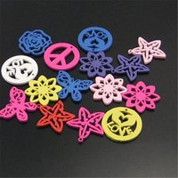 Wholesale Wooden Star Beads - Wholesale- Mixed Shapes Pictures Colors 100 pcs Wooden Flower Star Butterfly Peace Beads Earring Charms 19*12mm 01190 Jewelry Making
