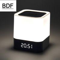 ingrosso sveglie mp3-All'ingrosso BDF Nuovo Mini Touch LED Bluetooth Altoparlante senza fili HIFI 3D Sound Box stereo con sveglia calendario TF AUX FM multifunzione