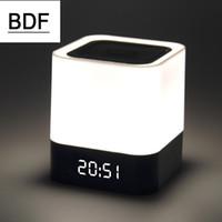 haut-parleurs multi-bluetooth achat en gros de-Vente en gros- BDF New Mini tactile LED Bluetooth haut-parleur sans fil HIFI 3D stéréo Sound Box avec réveil calendrier TF AUX FM multi-fonction