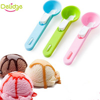 dondurma kazı toptan satış-Delidge 1 adet Renkli Dondurma Kaşığı Gıda-Plastik Plastik Dig Dondurma Topu Karpuz Meyve Kazma Küresel Şekil Krem