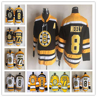 Wholesale Discounted Hockey Jerseys - Discount CCM Throwback Boston Bruins Hockey Jerseys Ice Cheap #8 Cam Neely #77 Ray Bourque Shirts Vintage Black White Yellow Retro Stitched