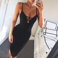 Wholesale Night Out Dresses - GZDL Women Hollow Out Summer Bodycon Party Dress Sexy Deep V Neck Spaghetti Strap Sleeveless Night Club Bandage Vestidos CL2420