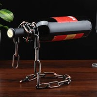 Wholesale Magic Chain Bottle Holder - Creative Popular Stand Floating Red Wine Bottle Rack Magic Rope Metal Chain Holder For Home Kitchen Bar 8 2rh B