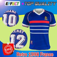 Wholesale France Soccer Shirt - ^_^ Wholesale 1998 FRANCE retro soccer jerseys home thai Quality 3AAA+ customzied name number zidane Henry soccer uniforms football shirts