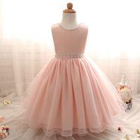 Wholesale korean wedding dress line for sale - Group buy High end Kids Party Dress Korean Version Bead Sleeveless Dress Net Yarn Wedding Flower Girl Princess Children s Dress