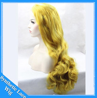 Wholesale Womens Costume Large - The Avengers costume pastel wig Bright yellow heat resistant synthetic orange wig cheap cosplay wigs for womens hair style natural body wave