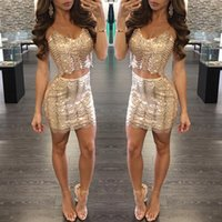 Wholesale Wavy Skirts - 2017 Free shipping European gold sequins dress sexy wavy Sequin dress Nightclub skirt Two piece suit Tight skirt