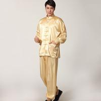 Wholesale Natural Tai Chi - Hot Sales Men Sleepwear Traditional Chinese Style Pajamas Silk-Like Long Sleeved Tai Chi Suit Leisure Clothing Homewear JK0071