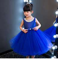 vestido real para niños al por mayor-Glizt Royal azul Kids Girls Party Wedding flower girl Vestido Baby Girl Dress Abalorio Bow Prom Vestido formal First Communion Gown