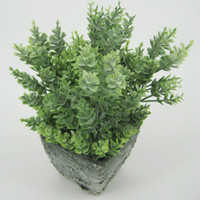 Wholesale Terracotta Pot Wholesale - Green Artificial Plants With terracotta Pots Table Flower Green Bonsai Display Flower with Tapered Rectangle pots for Home Decor125-1024