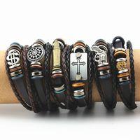 Wholesale Gift Wrapping Singapore - Vintage Beads Bracelet Handmade Woven Punk Alloy Cross Leather Bracelet & Bangle For Women Men Jewelry Hip-hop Multilayer Braid Wrap MB196