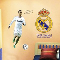 Wholesale Wallpaper Shipping - New Soccer Star Wall Stickers Football Wall Decal for Kids Boys Room Decoration DIY Wall Art Poster Wallpaper free shipping