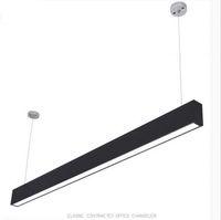 lámparas de techo de plata al por mayor-118 cm oficina LED de aluminio rectangular colgante luz de techo moderna de plata lámpara de lámpara led para comedor restaurante restaurante oficina