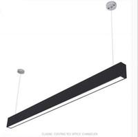 modern dikdörtgen sarkıt ışık toptan satış-118 cm ofis LED alüminyum dikdörtgen kolye ışık tavan modern gümüş yemek odası için led avize lamba fikstür restoran ofis