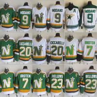 minnesota north stars jerseys al por mayor-# 9 Mike Modano Minnesota North Stars Jerseys 20 Dino Ciccarelli 7 Neal Broten 23 Brian Bellows 1991 Dallas Stars Jerseys